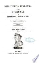 Biblioteca italiana  o sia Giornale di letteratura  scienze ed arti