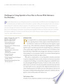Challenges In Using Opioids To Treat Pain In Persons With Substance Abuse Disorders A Reprint From Addiction Science And Clinical Practice  book