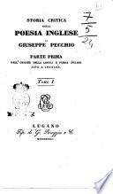 Storia Critica Poesia Inglese di Giuseppe Pecchio