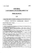 Studia Universitatis Babeș-Bolyai Series philologia