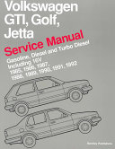 Volkswagen GTI  Golf  and Jetta Service Manual  1985  1986  1987  1988  1989  1990  1991  1992
