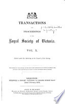 Transactions and Proceedings of the Royal Society of Victoria Book PDF