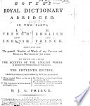 Boyer s Royal Dictionary abridged     The fifteenth edition     corrected and improved     By J  C  Prieur