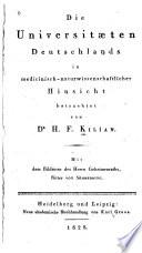 Die Universitaeten Deutschlands in medicinisch-naturwissenschaftlicher Hinsicht betrachtet