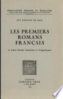 Les premiers romans français et autres études littéraires et linguistiques