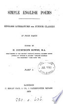 Simple English poems  ed  by H C  Bowen