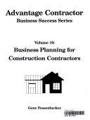 Advantage Contractor Business Success Series  Business planning for construction contractors