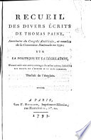 Recueil Des Divers écrits De Thomas Paine ... : ...