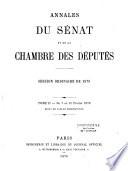 Annales du Sénat et de la Chambre des députés. Débats et documents