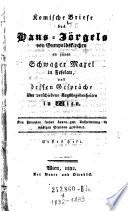 Komische Briefe des Hans-Jörgel von Gumboldskirchen an seinen Schwager in Feselau über Wien und seine Tagesbegebenheiten