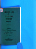 Library List for Tennessee Schools  Grades 1 12 Book PDF