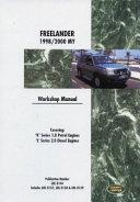 Land Rover Freelander Workshop Manual 1998 2000