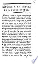 Réponse à la Lettre de l'Abbé Raynal [of May 31, 1791;]