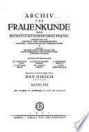 Archiv F R Frauenkunde Und Konstitutionsforschung