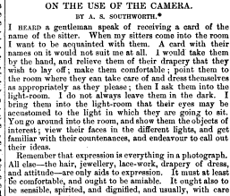Excerpt of On The Use of the Camera, by A.S. Southworth, The Photographic news for amateur photograp