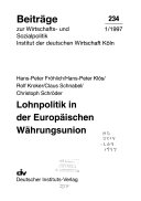 Lohnpolitik in der Europäischen Währungsunion