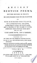 Ancient Scotish Poems  Never Before in Print