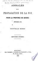 Annales de la propagation de la foi pour la province de Québec