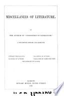 Miscellanies of Literature Book PDF