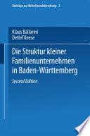Die Struktur kleiner Familienunternehmen in Baden-Württemberg