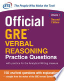 Official GRE Verbal Reasoning Practice Questions  Second Edition