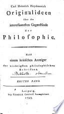 Originalideen über die interessantesten Gegenstände der Philosophie