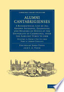 Alumni Cantabrigienses Directory In Six Parts Includes All