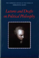Kant  Lectures and Drafts on Political Philosophy