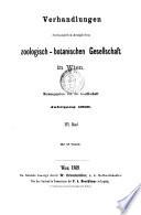 Verhandlungen der Kaiserlich koniglichen zoologisch botanischen Gesellschaft in Wien