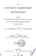 The Cottage Gardener S Dictionary Ed By G W Johnson With