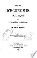 Cours d   conomie politique fait au Coll  ge de France