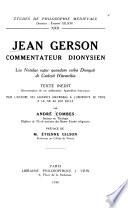 Jean Gerson, commentateur dionysien