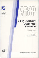 Law, Justice and the State: Problems in law