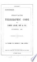 Private telegraphic code with James Adam  son   co Book PDF