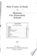 State Course of Study for Montana City Elementary Schools     1924 Book PDF