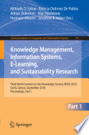 Knowledge Management  Information Systems  E Learning  and Sustainability Research