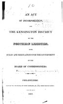download ebook act of incorporation for the kensington district of the northern liberties with rules and regulations for the government of the board of commissioners pdf epub