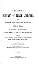 A Critical Dictionary of English Literature