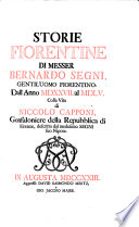 Storie Fiorentine     dall anno 1527 al 1555 colla vita di Niccolo Capponi     descritta dal medesimo segni suo nipote