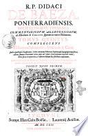 R P  Didaci de Baeza     Commentariorum allegoricorum et moralium de Christo figurato in Veteri Testamento