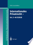 Internationales Privatrecht — Art. 3–46 EGBGB