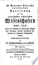 Handbuch der vornehmsten historischen Wissenschaften