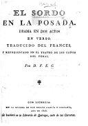 El Soldo en la Posada  Drama en dos actos en verso  Traducido del Frances     Por D  F  E  C   ie  F  E  Castrillon