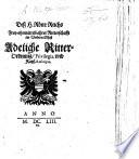 Dess H. Röm. Reichs frey-ohnmittelbahrer Ritterschafft im Undern Elsass adeliche Ritterordnung, Privilegia und Kays. Rescripta