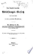 Das königlich bayerische Ablosungs-Gesetz