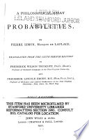 A Philosophical Essay on Probabilities