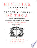 Histoire Universelle De Jacques Auguste De Thou