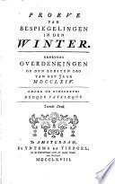 Proeve Van Bespiegelingen In Den Winter