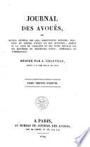 Journal des avou  s  ou recueil g  n  ral des lois