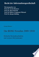 Die BDSG Novellen 2009 2010